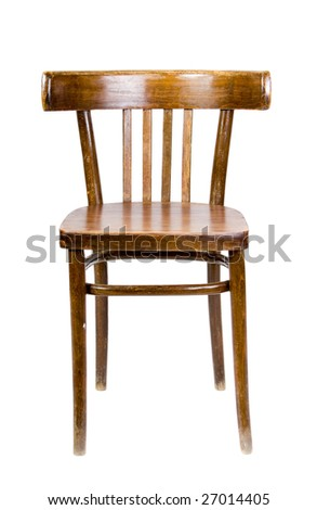 old wooden chair on white background - stock photo