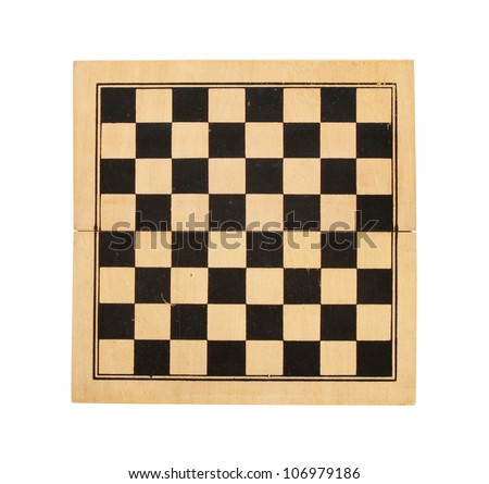 Old wooden chess board isolated, with clipping path - stock photo