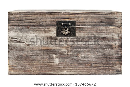 old wooden chest is isolated on white - stock photo
