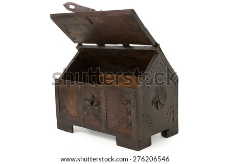 Old Wooden Chest Isolated on White - stock photo