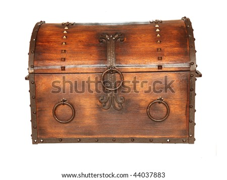 Old wooden chest isolated on white background - stock photo