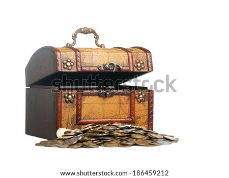 Old wooden chest with golden coins isolated on white background - stock photo