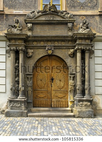 old wooden Church Door - stock photo