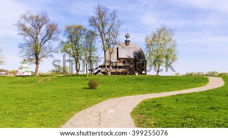 Old wooden church in the ancient town of Suzdal. gold ring of Russia - stock photo