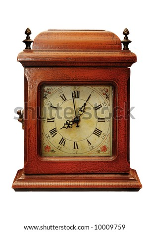 Old wooden clock on a white background - stock photo