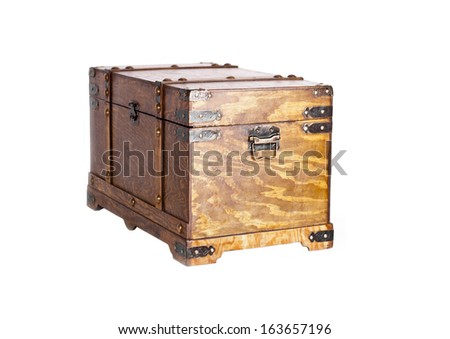 Old wooden coffer, isolated. Copy space - stock photo