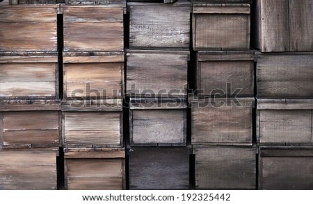 Old wooden crates rustic texture - stock photo
