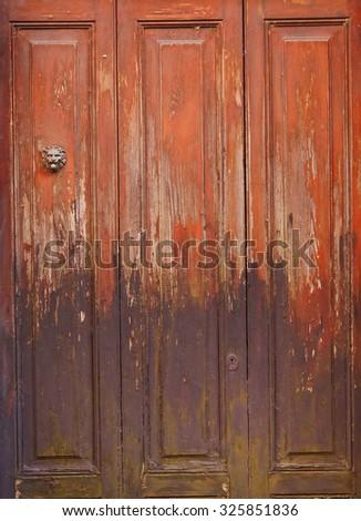 Old  wooden door background. - stock photo