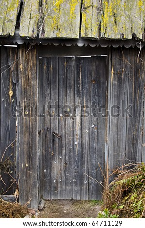 Old wooden door covered with moss and rust. - stock photo
