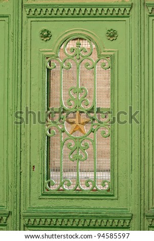 old wooden door green