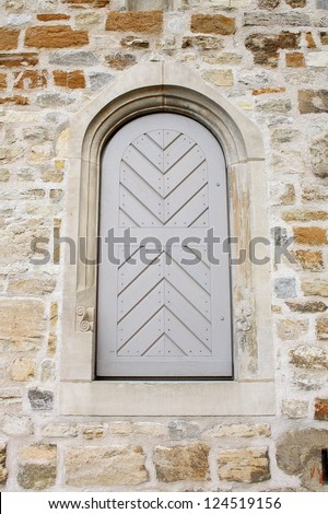 Old wooden door in church Erfurt Cathedral - stock photo