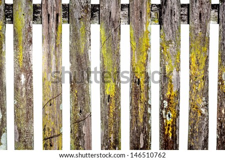 old wooden fence in garden on white background. - stock photo