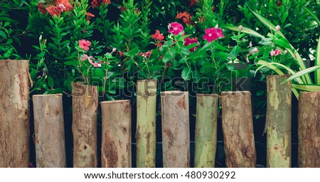 old wooden fence in garden with flower