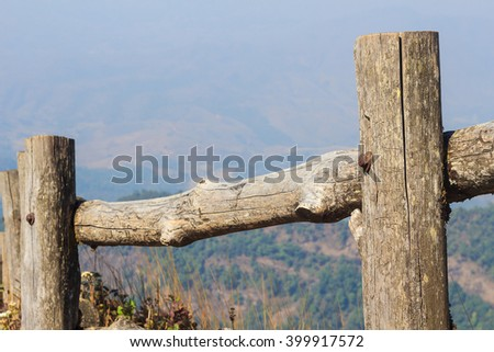 Old Wooden fence on mountain peak