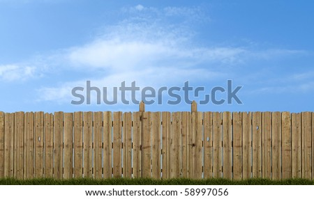 old wooden fence with gate on sky background - rendering - stock photo