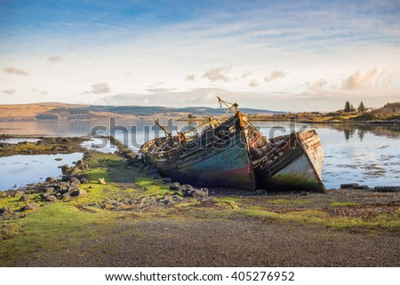 old wooden fishing boat wrecks on mull