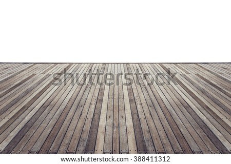 Old wooden flooring with white isolated space for design - stock photo