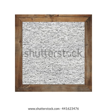 Old wooden frame isolated and have gray fabric background on white backdrop. - stock photo