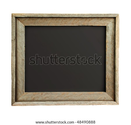 Old wooden frame isolated on white background with path - stock photo