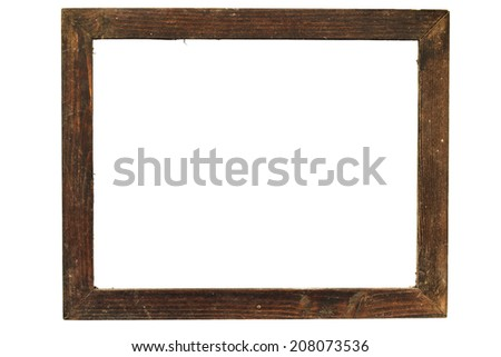 old wooden frame on white - stock photo