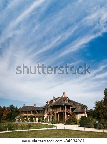 Old Wooden gallery of the Queen's house in Marie-Antoinette's estate. Versailles. - stock photo