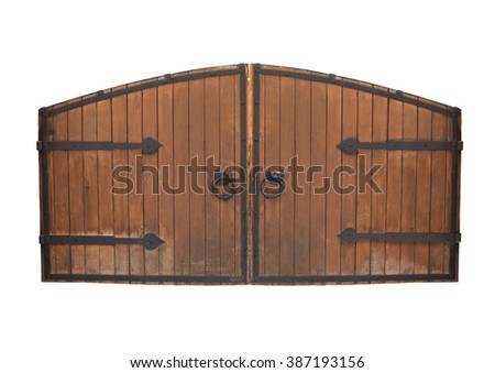 Old wooden gate isolated on white