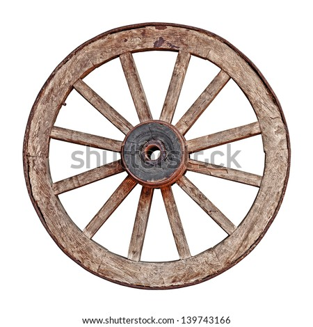 Old wooden grunge wagon wheel isolated on white background - stock photo