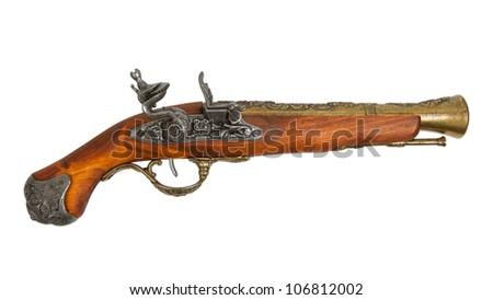 Old wooden gun isolated on white background - stock photo