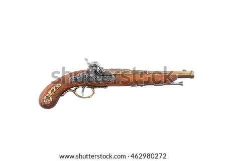 Old wooden gun, isolated, on white background top view