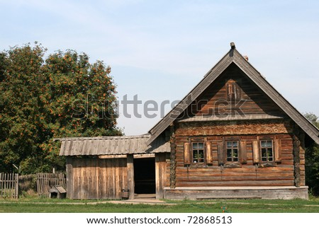 Old wooden house in museum in Suzdal Russia - stock photo