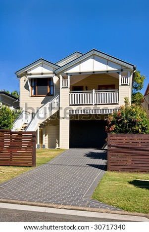 "Old wooden house in the ""Ashgrovian"" style, Brisbane, Queensland, Australia - stock photo"