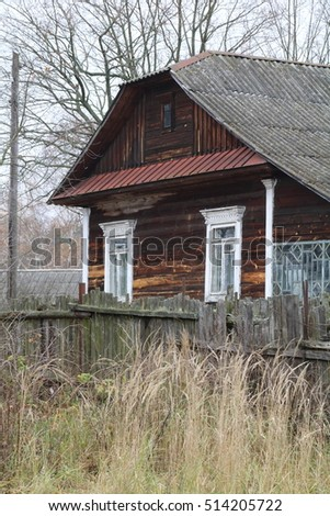 old wooden house in the village, Belarus