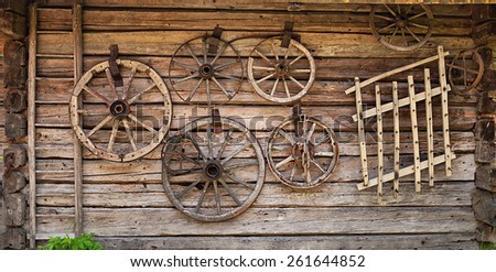 old wooden house wall - stock photo
