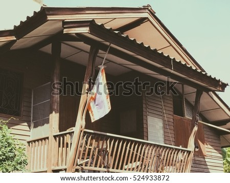 Old wooden houses older than 30 years. In capital city ,Thailand