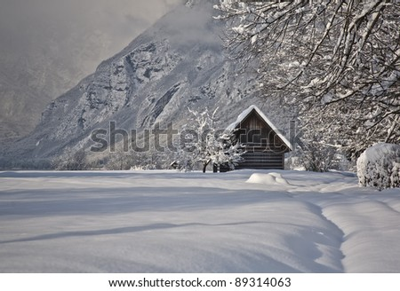 old wooden hut covered with fresh snow in winter, bohinj region, slovenia - stock photo