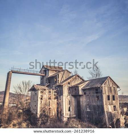 old wooden industrial building in Germany  - stock photo