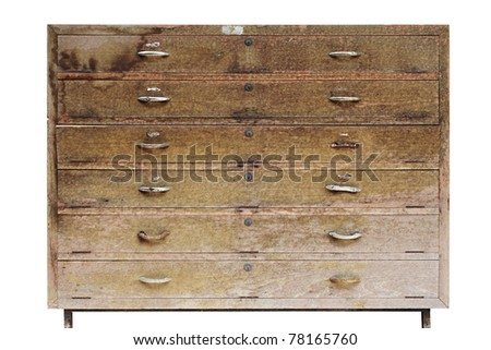 Old wooden locker isolated on white - stock photo