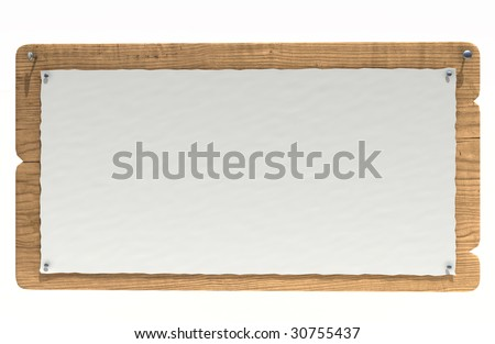 old wooden notice board isolated over white - stock photo