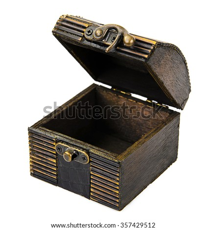 Old Wooden Open Chest Isolated on White Background - stock photo