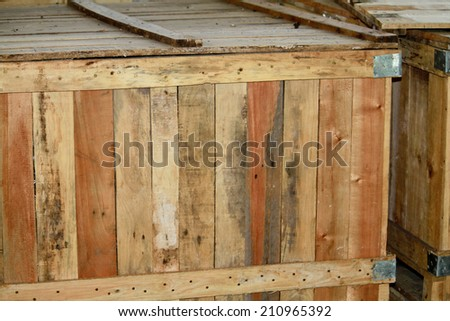Old wooden pallet in warehouse - stock photo