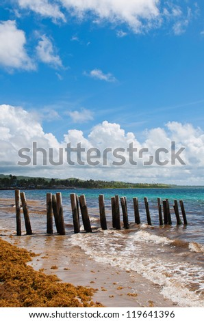 old wooden pier stilts on a deserted beach at Vieux Fort, Saint Lucia - stock photo
