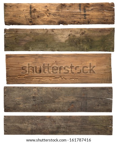 Old wooden planks isolated on white background - stock photo
