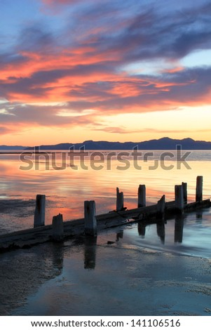 Old wooden posts at the Great Salt Lake during sunset. - stock photo