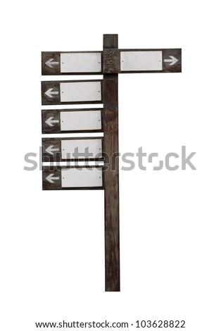 Old wooden road sign isolated on white - stock photo