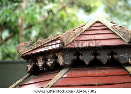 Old wooden roof texture - stock photo