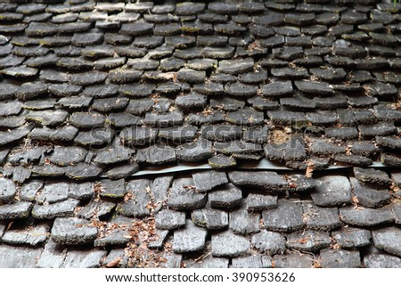 Old wooden roof thai lanna style. - stock photo