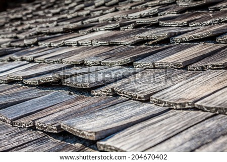 Old wooden roof tiles from Switzerland - stock photo