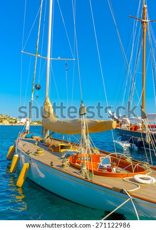 old wooden sailing boat in Spetses island in Greece - stock photo