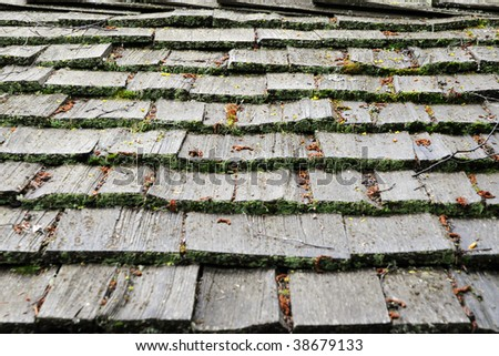 Old wooden shingles - pattern / background - stock photo