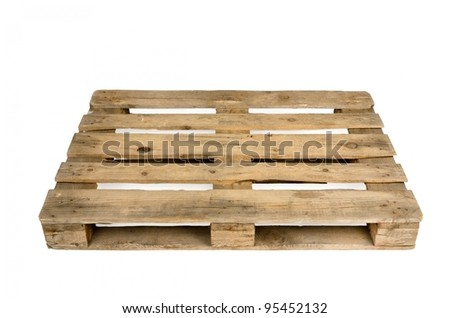 Old wooden shipping pallet, studio shot - stock photo